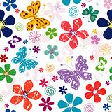 Spring seamless white floral pattern