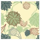 vector seamless floral background with heart
