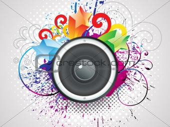 abstract colorful sound with grunge