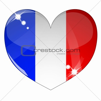 Vector heart with France flag texture