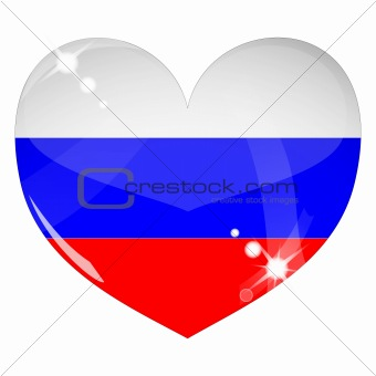 Vector heart with Russia flag texture