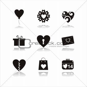 black st. valentine's day icons