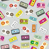 seamless pattern audio cassettes