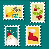Set of Christmas Postage stamps