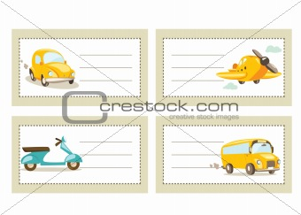 Back to school stickers with vehicles