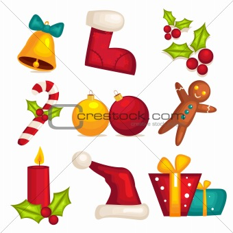 Christmas icons isolated