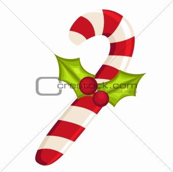 Christmas Candy Cane with mistletoe  isolated