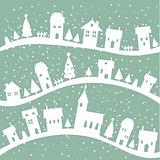 Winter village christmas background