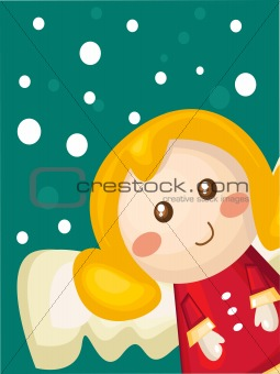 Christmas card with cartoon angel