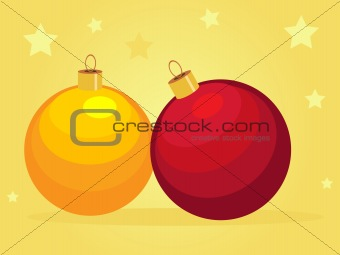 Card with cartoon Christmas balls