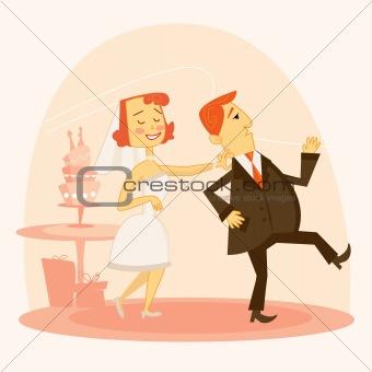 Cartoon wedding couple