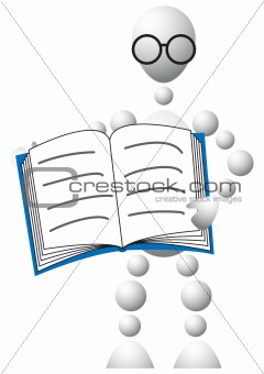 Man in glasses with blue book