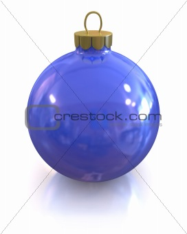 Blue christmas glossy and shiny ball isolated