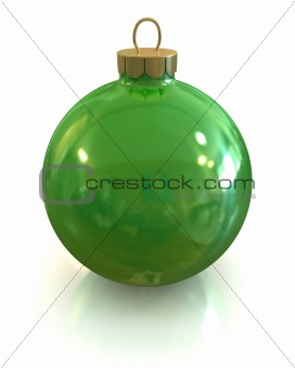 Green christmas glossy ball and shiny isolated