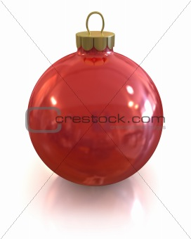 Red christmas glossy and shiny ball isolated