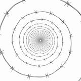 Barbed wire spiral frontal view