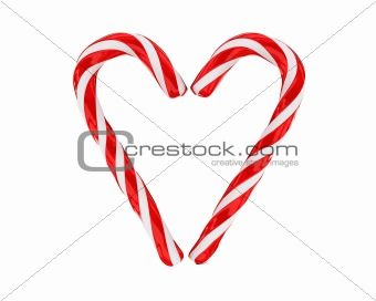 Heart made from christmas candies isolated
