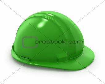 Green builder's helmet isolated
