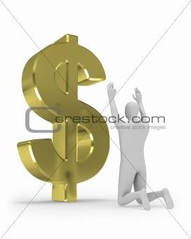 3D man worships big dollar sign