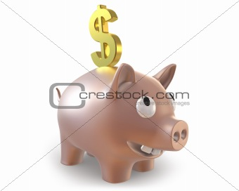 3d piggy bank with dollar symbol