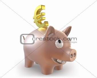 3d piggy bank with euro symbol