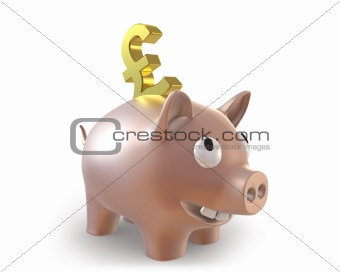 3d piggy bank with pound symbol