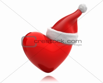 Red shiny heart with santa hat isolated