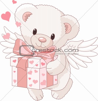Teddy bear angel bringing the gift