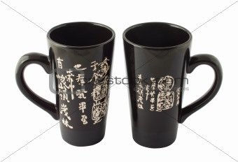 Black chinese cups fot tea