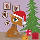 Dog with Christmas presents