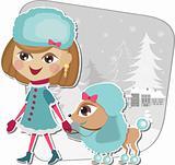Christmas walk with a dog