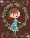 Girl holding wreaths