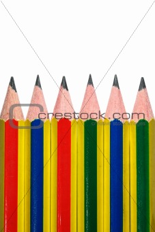 Six pencil on white background isolated