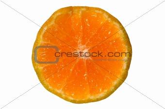 Slice orange on white background isolated