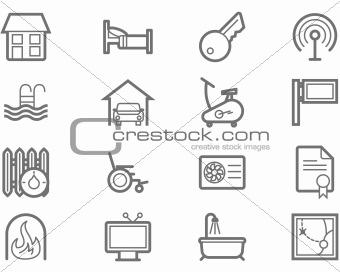 Accommodation amenities icon set