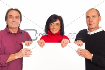 Adult Smiling People Holding Blank Billboard