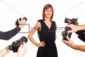 Celebrity Woman in front of Paparazzi