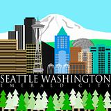 Seattle Downtown Skyline with Mount Rainier Color
