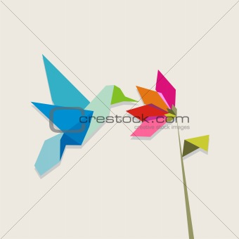 Origami hummingbird and flower on pastel background