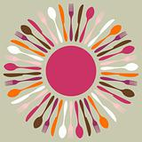 Colorful cutlery restaurant mandala