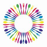 Colorful circled mandala cutlery restaurant.