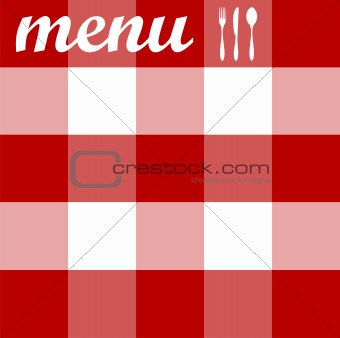Menu design. Cutlery on red tablecloth texture