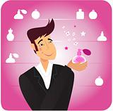 Man with romance gift - pink perfume bottle