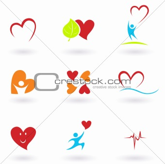 Cardiology, heart and people icons collection. VECTOR