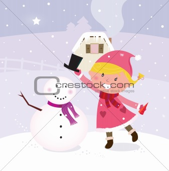 Cute winter girl in christmas pink costume making snowman