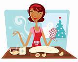 Christmas woman baking cookies in retro kitchen