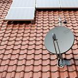 solar roof with satellite dish