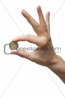 one hand holding a coin
