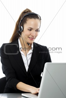 """young businesswoman with laptop"