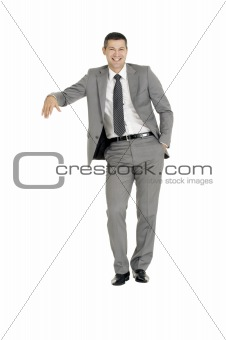 businessman with stand